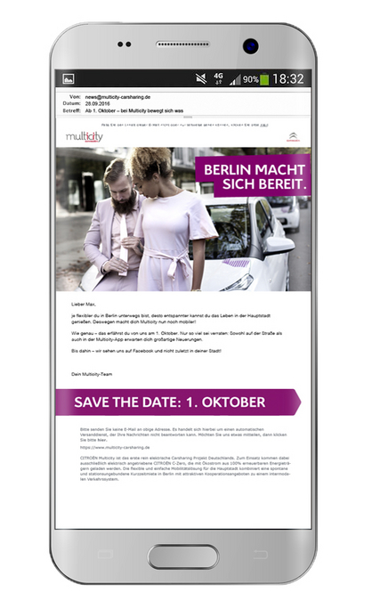 Mobile Ansicht des Newsletters des Carsharing-Anbieters Citroën Multicity