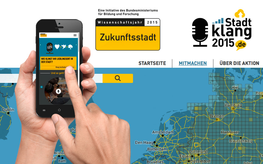 "Website der Citizen-Science-Aktion ""Stadtklang 2015"""