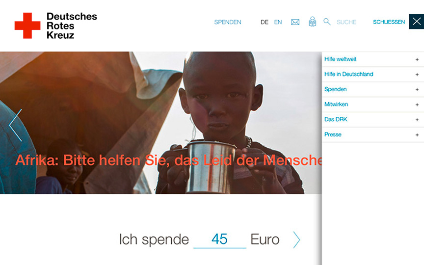 Screen der DRK-Website: Kind in Flüchtlingslager in Afrika