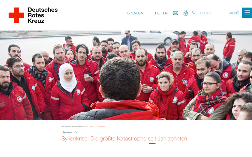 Screen der DRK-Website: Lagebesprechung in Syrien