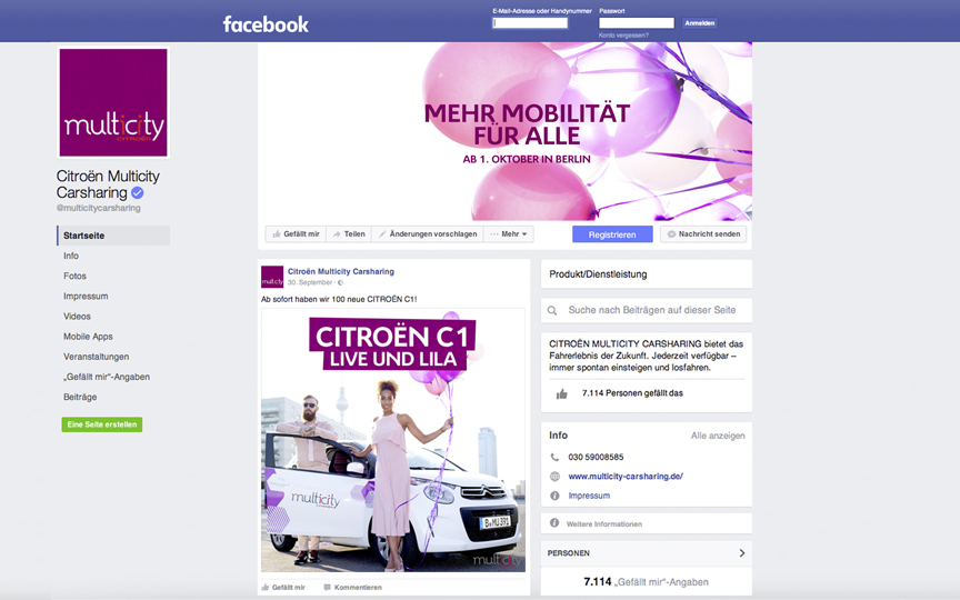 Facebook-Seite des Carsharing-Anbieters Citroën Multicity