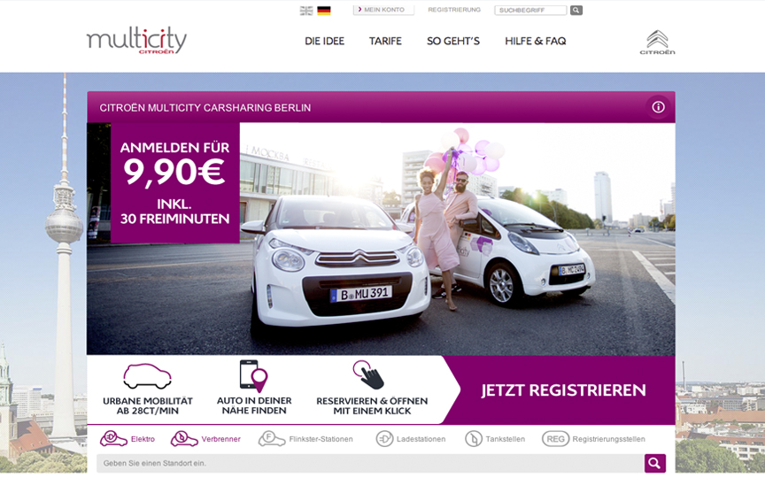 Website des Carsharing-Anbieters Citroën Multicity