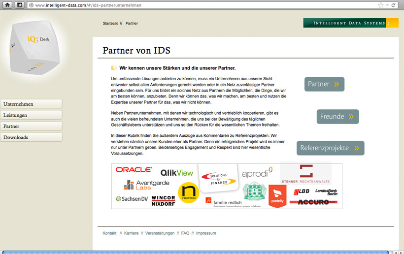 Desktop-Ansicht der Website für Intelligent Data Systems (IDS)